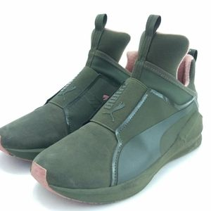 Puma Fierce (Sz 5) olive green and pink